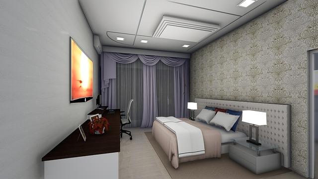 ložnice, pracovna, šedý interiér